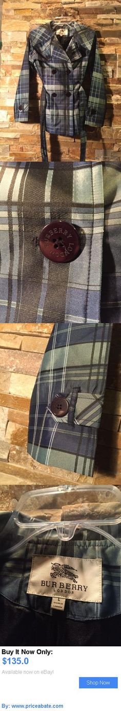 Women Coats And Jackets: Burberry London Womens Windbreaker Pea Coat Jacket Size 7 Blue And Black Plaid BUY IT NOW ONLY: $135.0 #priceabateWomenCoatsAndJackets OR #priceabate