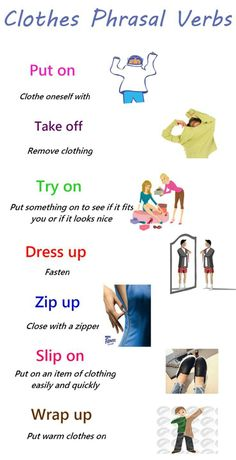 Useful Phrasal Verbs Relating to Clothes – ESLBuzz Learning English Do spend a long time picking out clothes when you go shopping? English Vinglish, English Verbs, English Sentences, English Course, English Vocabulary Words, English Phrases, English Study, English Learning Spoken, Teaching English Grammar