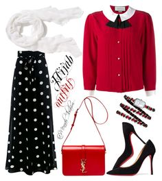 """""""#Hijab_outfits #Red_black"""" by mennah-ibrahim on Polyvore featuring Gucci, Boutique Moschino, Old Navy, Christian Louboutin, Yves Saint Laurent and Chanel"""