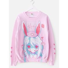 NURSEBUNNY Sweater – OMOCAT ($50) ❤ liked on Polyvore featuring tops, sweaters, unisex sweaters, pink crew neck sweater, crewneck sweater, crew neck sweaters and pink sweater