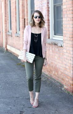 Make It Work, black top, pink cardigan, olive cropped jeans, pink sandals byPenny Pincher Fashion Creative Interview Outfit, Interview Outfit Summer, Pink Top Outfit, Blush Outfit, Olive Pants Outfit, Olive Green Pants, Penny Pincher Fashion, Tennis Shoes Outfit, Outfits Mujer