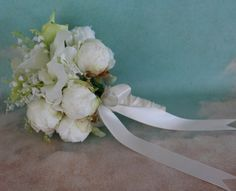 Ivory and Blush Peony Wedding Bouquet - Peony Calla Lily Bridal Bouquet - Ready To Ship