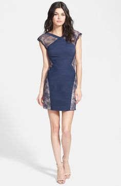 BCBGMAXAZRIA 'Jess'  Cap Sleeve Lace Panel Dress available at #Nordstrom