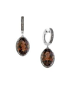 Sienna Diamond, Smoky Quartz 14K White Gold Earrings | Lord and Taylor