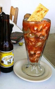 Recipe Authentic Mexican shrimp cocktail: YES! Mexican Shrimp Cocktail, Mexican Seafood, Mexican Dishes, Seafood Cocktail, I Love Food, Good Food, Yummy Food, Ceviche, Sashimi