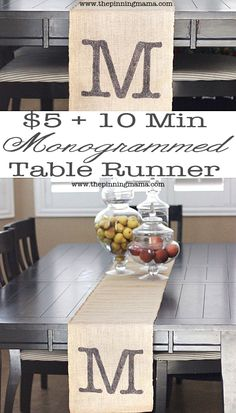 Who knew it was so easy?! $5 and 10 minutes to a custom monogrammed table runner! Perfect for shabby chic home or wedding decor.