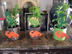 Dinosaurs birthday party center pieces. Mint plants and wood Dino cutouts in formula cans.