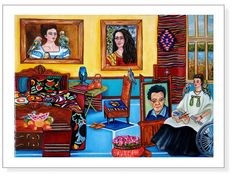 """Frida""""s Place Interior Still Life  Mexican Art Giclee Print by k Madison Moore - pinned by pin4etsy.com"""