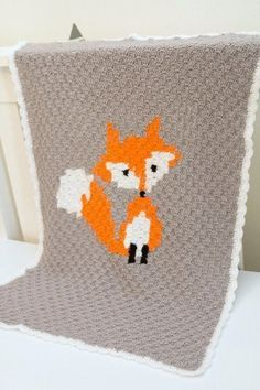 Woodlands themed little fox crochet graph afghan baby blanket pattern Crochet Fox, Crochet For Boys, Baby Blanket Crochet, Irish Crochet, Baby Boy Blankets, Afghan Crochet Patterns, Stuffed Animal Patterns, Making Ideas, Crochet Projects