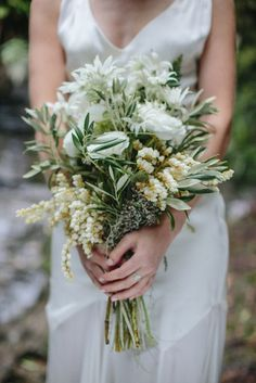 woodsy and green bridal wedding bouquet
