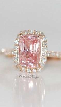 Rosamaria G Frangini | High Pink Jewellery | Rose gold ring engagement ring. Peach sapphire 1.63ct cushion sapphire diamond ring.