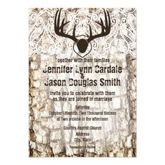 Rustic Country Camo Hunting Antlers Wedding Invitation with tree bark and mounted deer antlers.  Two sided design.  http://www.zazzle.com/rustic_country_camo_hunting_antlers_wedding_invite-161522933453290323?rf=238133515809110851