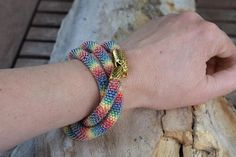 Rainbow snake summer jewelry Beaded bracelet Jewelry for leisure rainbow bracelet Beaded crochet snake Bracelet with snakeclasp gift of wife