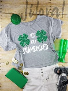 d6a72b1f St. Patricks Day Shirt Crop Top-Let's Get Shamrocked-Crop Top-Fashionable -  Shamrock Shirt - Lucky Shirt - St Patricks Day Woman