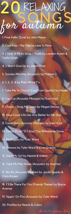 20 Relaxing Acoustic Fall Songs autumn playlist spotify covers guitar   Michelle…
