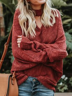 7b2e95509a Red V-neck Long Sleeve Knit Sweater Warm Sweaters