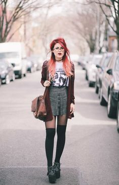 Le Happy wearing Sonic Youth tee and grey plaid skirtYou can find Le happy and more on our website.Le Happy wearing Sonic Youth tee and grey plaid skirt Edgy Outfits, Grunge Outfits, Skirt Outfits, Fashion Outfits, Work Outfits, Fashion Mode, Grunge Fashion, Skirt Fashion, Fashion Fashion