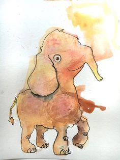 the yellowphant http://ift.tt/21F6eSU Art watercolor acrylic doodle art painting artistsoftumblr watercolor
