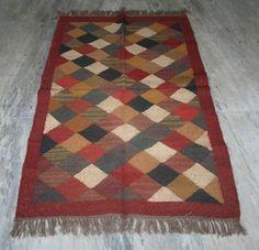 3'X5' ft Handwoven Fine Kilim Turkish Wool Jute Area Rug Vintage Kilim Runner #Turkish