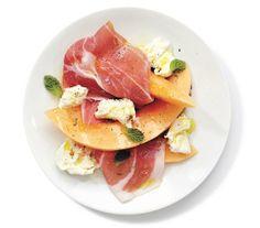 Mozzarella, Prosciutto, and Melon Salad With Mint recipe: Add torn mozzarella to the classic melon-prosciutto combination to create a delicious summer salad.