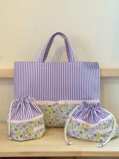 花柄×ラベンダーストライプ♡コップ袋・お弁当袋・巾着【入園・入学】