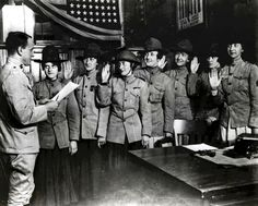 Some of the first women sworn into US Marine Corps. [August, 1918]