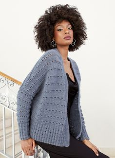 Designed by Martin Storey this drop shoulder cardigan features a textured eyelet pattern. Longline Cardigan, Oversized Cardigan, Easy Knitting, Knitting For Beginners, Diamond Tops, Magazine Mode, Sleeveless Jacket, Knit Patterns, Blouses For Women