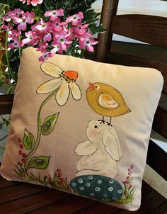 Easter Decorations Springtime Decorations Daisy by SippingIcedTea Easter Art, Easter Crafts, Easter Bunny, Bunny Painting, Fabric Painting, Canvas Fabric, Cotton Canvas, Easter Pillows, Fall Pillows