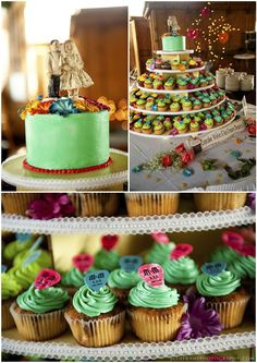 i like how this is set up. you can have both a cake and cupcakes. Love the guitar pick toppers too.