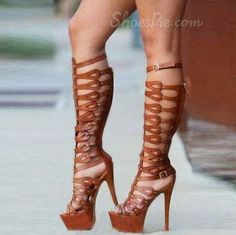 Vintage Brown Platform Stiletto Heel Gladiator Sandals www.juliekcreativeliving.blogspot.com #creativelivingsolesisters