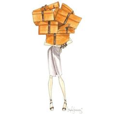 Hermes, Brown Ribbon and Orange Boxes, ORIGINAL Watercolor Fashion... ❤ liked on Polyvore featuring home, home decor, wall art, orange home decor, orange wall art, watercolor fashion illustration, brown wall art and watercolor wall art