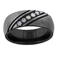 Mens Black Wedding Bands With Diamonds | Weddings Rings Store