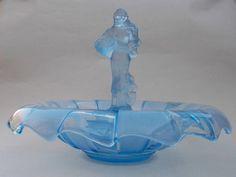 Walther & Sohne LUCRETIA Figurine w. Frog + NEPTUN Bowl - Art Deco Glass 1930s