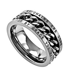 "Spinning Chain Ring - Amazing Grace Stainless steel ring with high polish chain in the center that spins. Width is Top of ring band reads: ""My Chains Are G My Chains Are Gone, Freedom Rings, Jad, Christian Jewelry, Stainless Steel Rings, Band Rings, Cool Stuff, Stuff To Buy, Jewelery"
