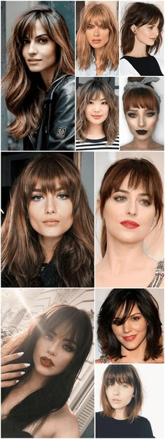 Hair trends 2018 bangs 66 new Ideas Long Hair With Bangs, Haircuts For Long Hair, Hairstyles With Bangs, Trendy Hairstyles, Medium Hair Cuts, Medium Hair Styles, Curly Hair Styles, Hair Trends 2018, Colored Curly Hair