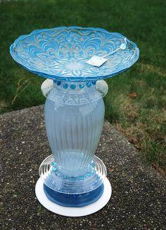 SOLD - garden art, recycled glass, birdbath's, glass flowers, glass blossom's- all items hand made by Karen Talbot
