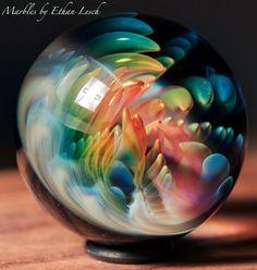 "1.41"" HANDMADE MARBLE SIGNED BY ~ETHAN LESCH~ BOROSILICATE, BORO, ART, MIB #Glass"