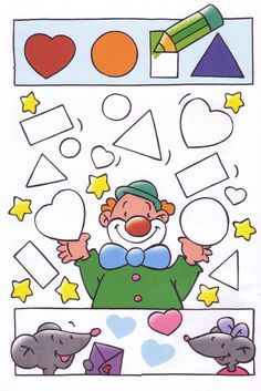 Another clown color the shape page. Preschool Circus, Circus Crafts, Preschool Crafts, Kids Crafts, Kindergarten, Preschool Curriculum, Class Activities, Preschool Activities, Theme Carnaval