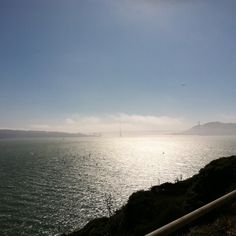 View of the Golden Gate Bridge from Alcatraz - can you see the tiny para surfers in the water? Awesomeness in #sanfrancisco