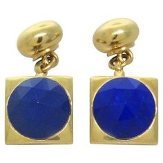 Brand new Pomellato 18k gold cufflinks with faceted lapis. Cufflink top is 13mm x 13mm. Marked Pomellato,750. weight - 13.7g  DESIGNER:…