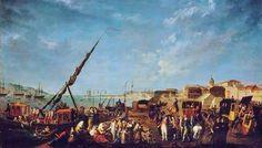 Embarque da família real portuguesa em embarcações que seguiram para o Rio de Janeiro. Pintura de autoria de Nicolas Louis Albert Delerive.