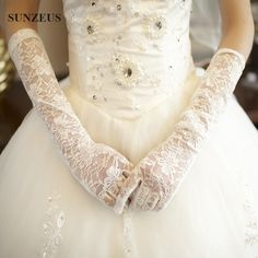 Long Lace Gloves For Wedding Evening Party Ivory White Red Black Long Bridal Gloves Finger Dantel Eldiven
