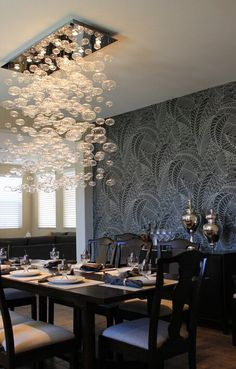 Love The Bubble Light Fixture U0026 Accent Wallpaper For Dining Room