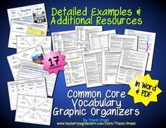 Common Core Language (Vocabulary) Graphic Organizers for grades 6-12 - in PDF & Word