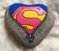 Superwoman, super girl power, PINK, superpowers, zipper, painted rocks by Holly N.