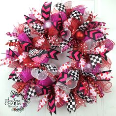 Deco Mesh Valentine's Day Wreath For Door or Wall Red Pink White Black Check Hearts by www.southerncharmwreaths.com #decomesh #valentine #wreath