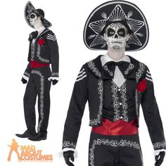 Adult-Senor-Bones-Costume-Day-of-the-Dead-Skeleton-Fancy-Dress-Halloween-Outfit