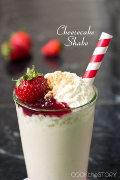 Cheesecake Milkshake...⅓ cup cream cheese 2 Tbsp. Greek yogurt or sour cream 2 Tbsp. sugar 1 egg ¼ tsp. vanilla pinch salt 1 Tbsp. strawberry jam ½ tsp. water 1 cup ice cream 2 Tbsp. milk
