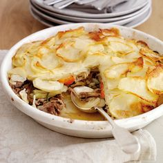 A big bowl of comforting Welsh lamb and potato torte. Meaty, carby, loveliness. www.handbag.com