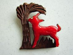 Vintage Red Bakelite Lamb and Wood Tree Pin